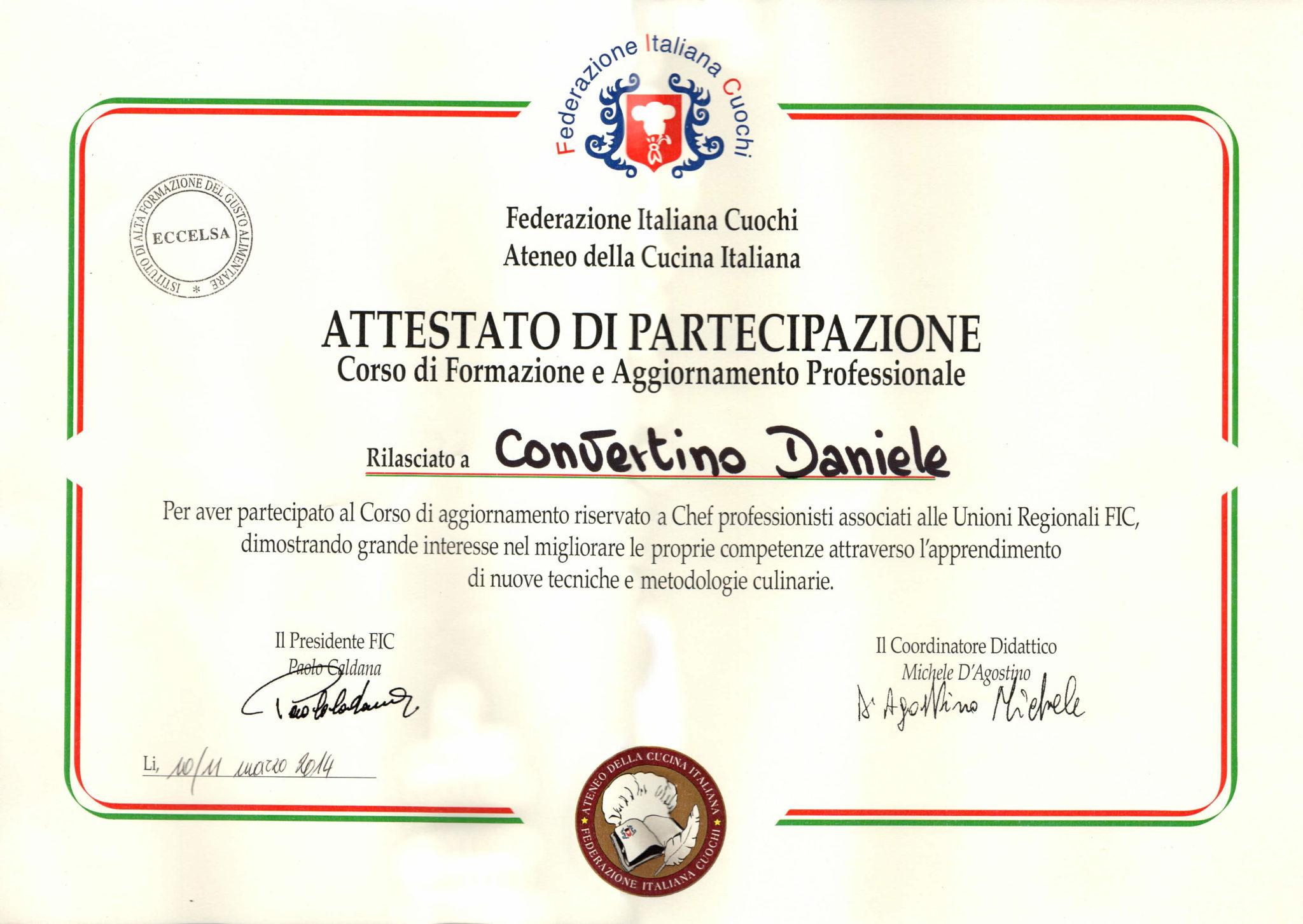 Attestato Federazione Italiana Cuochi